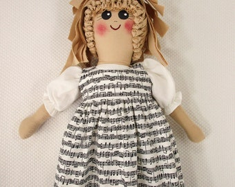 Plastic Bag Holder Doll, Musical Notes, Grocery Bag Holder, Kitchen Storage, Country Kitchen Accent, Recycle, Kitchen Doll, Music Gift