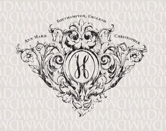 Victorian Flourish Wedding Monogram - Wedding Logo - Wedding Crest