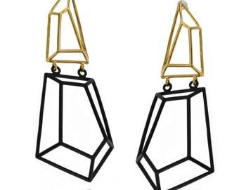 Geometric Earrings, Gifts for Her, Black & Gold Earrings, Dangle Bridal Earrings, Geometric Jewelry, Brass Earrings, Free Shipping