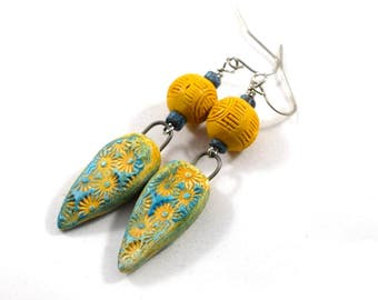 Handmade Earrings, Turquoise and Yellow, Flower Earrings, Boho Chic Earrings, Polymer Earrings, Yellow Earrings, Turquoise Earrings