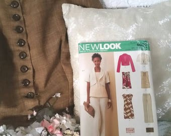 dressmaking pattern, new look 6080, multi size pattern, top jacket dress pants bag,  USA sizes 6 to 16