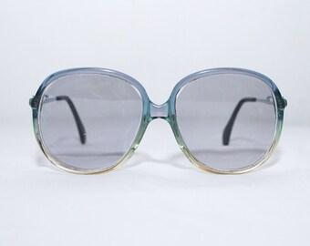 Vintage glasses frames. clear blue plastic oversized glasses. ombre frames