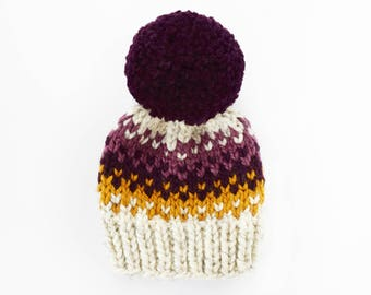 Chunky Knit Beanie // Toddler Hats for Girls // Hats for Women // Hats for Kids // Knit Pom Pom Hat // Fair Isle Hat