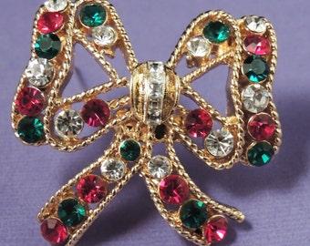 EISENBERG ICE Christmas Bow Pin / Eisenberg Ice Rhinestone Bow / Eisenberg Ice Bow Brooch / Eisenberg Ice Christmas Jewelry