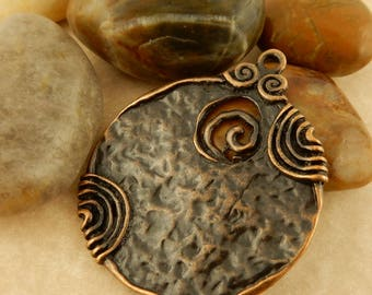 5 Antiqued Copper or Bronze Celtic Spiral pendants