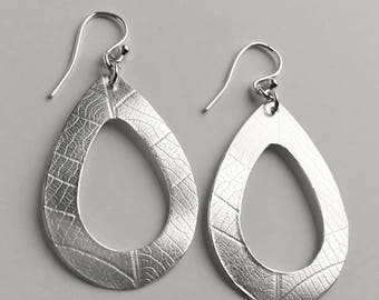 Silver Open Teardrop Earrings - Leaf Earrings - Sterling Silver Botanical Jewelry
