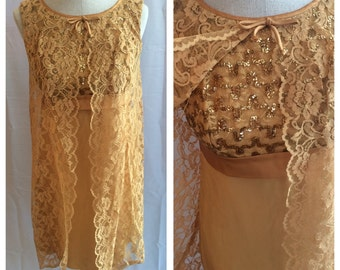 Stunning 1960s Gold Lace and Sequin Cocktail Dress
