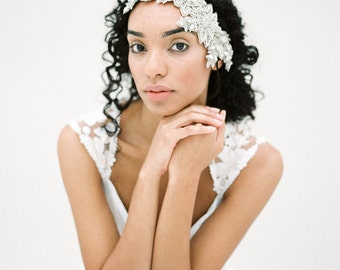 Crystal Bridal Headpiece, Flapper Wedding Headpiece, Vintage Inspired Headpiece, Floral Headpiece, Silver Bridal Hair Comb - Style 604