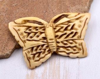 Butterfly Pendant, 1pc, 37mm x 60mm, Carved Bone Pendant,  Bone Beads - P52