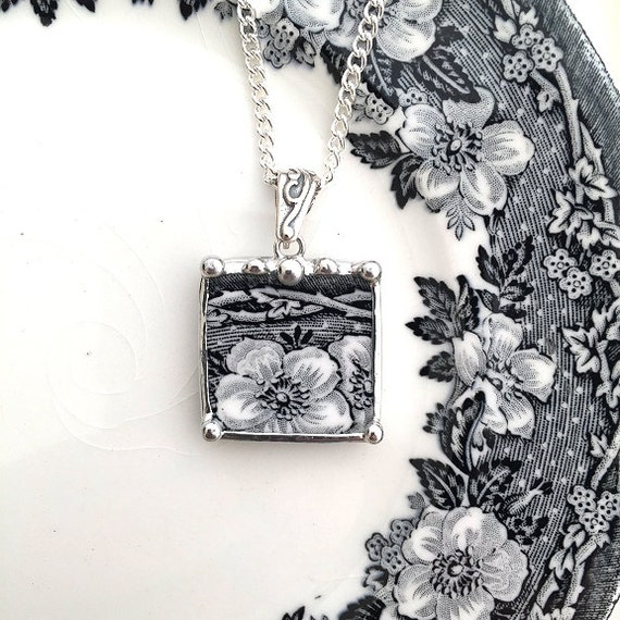 Broken china jewelry - Black and white floral toile transferware - broken china jewelry pendant necklace