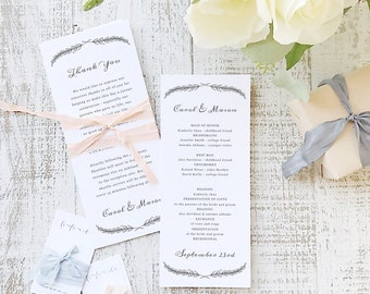 Instant Printable Wedding Program Template   INSTANT DOWNLOAD   Quill   Flat Tea Length   Editable Colors   Mac or PC   Word & Pages