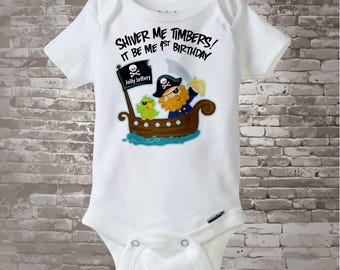 Personalized Pirate First Birthday Shirt or Onesie with Your Child's Name and Age (01082012a1)