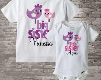Big Sister Little Sister Shirt set of 2, Sister Bird Shirt, Sibling Shirt, Personalized Tshirt with Cute Pink and Purple Birdies 11082012a