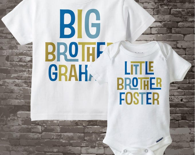 Big Brother Little Brother Shirt set of 2, Sibling Shirt, Personalized Tshirt with Blue and Green Gold Letters 01162012b