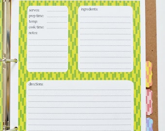 Recipe Binder -- Hand-Stenciled Cover with 24 Letter Size Recipe Cards and 8 Tabs in ModBox Design