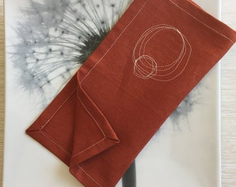 Cotton Napkins / Reusable Fabric Napkins / Rust Orange Cloth Napkins with Circle Scribbles