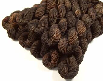 Mini Skeins - Hand Dyed Yarn - Sock Weight 4 Ply Superwash Merino Wool Yarn - Bark Tonal - Knitting Yarn, Sock Yarn, Fingering Yarn, Brown