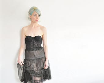 sheer black reversible petticoat skirt . scallop lace trimmed high waist tutu slip .extra small.xs