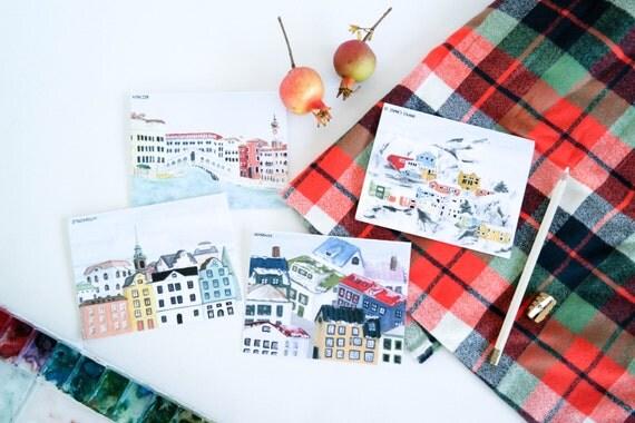 Holiday Card Set: Snowy Skylines