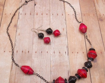 Necklace and Earring Set - Rwandan Paper Beads - Dark Pink and Black - Chunky - Large