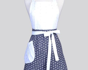Blossom Womens Full Apron / White and Grey Triangles with Eyelet Ruffle and Bodice Mothers Day Cute Hostess or Wedding Apron Large Pocket