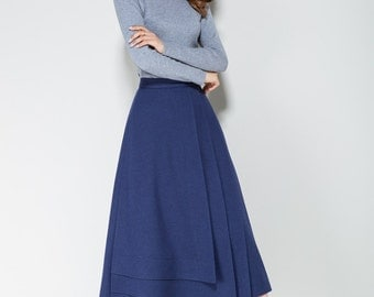 blue skirt, wool skirt, spring skirt, tiered skirt, fitted skirt, ladies skirt, office skirt, elegant skirt, midi skirt, plus size 1712