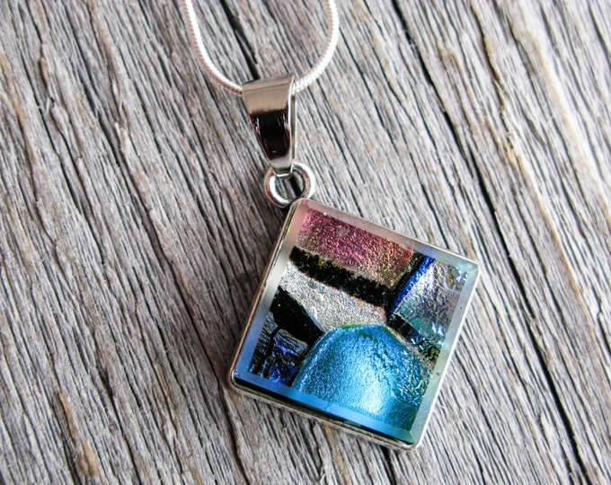pendant necklace, dichroic glass, fused glass pendant, dichroic necklace, blue and pink, blue glass, blue necklace, gift for her