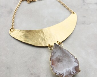 Geode Statement Necklace | Gold Plated | Brass