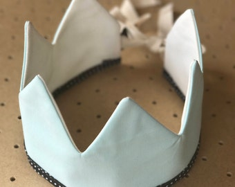 Fabric Crown / Light Blue and Ecru