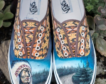 Custom Vans Shoes - Native American Chief in Forest Painting