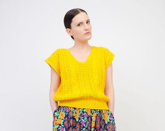 Vintage 80s Yellow Sweater - Cotton Ramie Cable Knit Top Slouchy Short Sleeve V Neck Sweater - Medium Large M L