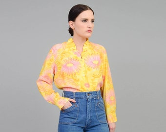 Vintage 60s Floral Blouse Watercolor Flowers Ruffled Blouse 1960s Button Up Shirt Long Sleeve Top Yellow Pink - size Medium M