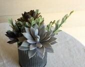 Faux succulent arrangement in corrugated metal vase, modern farmhouse home decor, faux succulent office decor