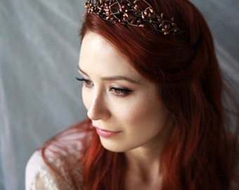 Rustic twig crown, woodland headband, autumn headpiece, mauve berry crown, branch head piece, fall hair accessories