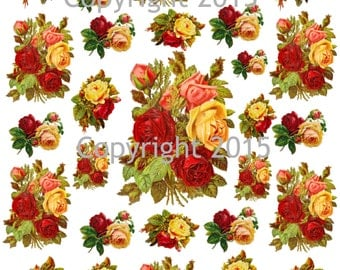Printable Victorian Red and Yellow Roses Collage Sheet.  Instant Digital Download,  Flowers, Scrapbook Embellishments