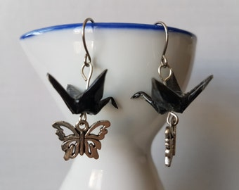 Origami earrings black paper crane with silver charms eco-friendly jewelry