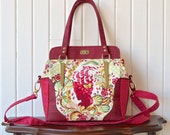 Aster handbag in Tula Pink Parisville Cameo in Sprout with dark red cork and optional cross body strap