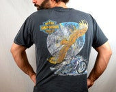 Vintage 1990s 90s Harley Davidson Eagle Pocket Tee Shirt Tshirt