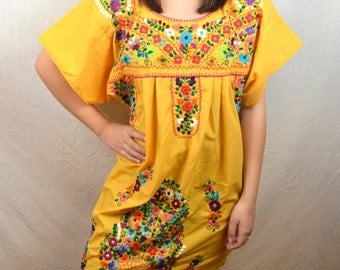 Embroidered Vintage Yellow 80s Vintage Oaxaca Mexican Floral Dress