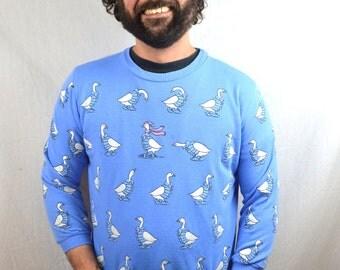RARE Vintage 80s Puffy Duck Quack Blue Sweatshirt - Scarab
