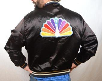 Vintage NBC Studios Peacock Satin Jacket
