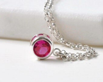 Sterling Silver Bezel Set Ruby Necklace / Small Ruby Solitaire Pendant / July Birthstone Necklace / 16 inch / 18 inch/ 20 inch