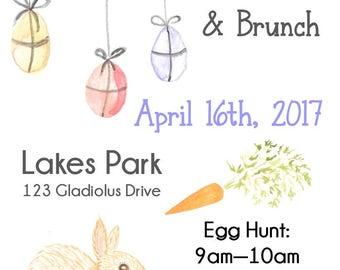 "Easter Egg Hunt 5""x7"" Custom Party Invitation Digital Printable"