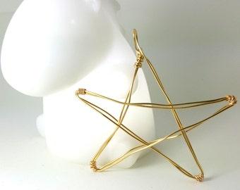 Golden Star Double Wire Ornament - rustic minimalist wire star ornament -1212Q