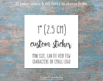 "custom stickers, square 1"", personalized with your words or logo, product stickers, wedding favors, logo stickers, kraft labels (S-102)"