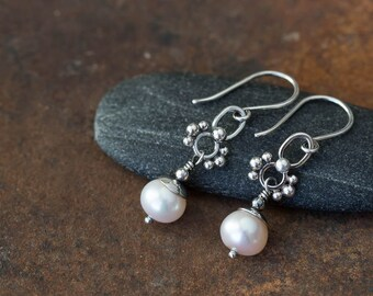 Unique Petite White Pearl Earrings, Lightweight Short Dangle, Natural freshwater pearl earrings, solid sterling silver, artisan jewelry