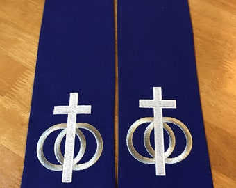 Wedding Officiant Clergy Stole with Cross and Rings