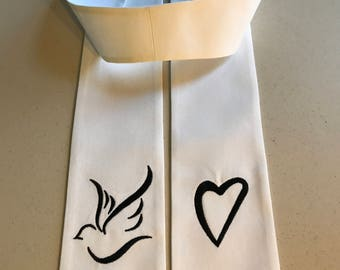 Clergy Stole with Heart and Dove
