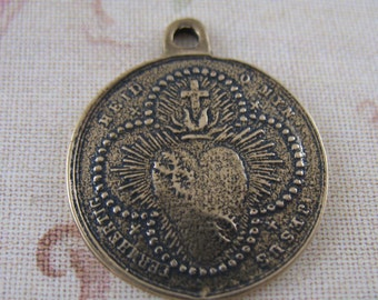Religious Medal Sacred Heart Madonna and Child Vintage Inspired Bronze Religious Jewelry Supplies SCO11