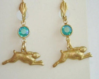 Rabbit Turquoise Blue Stone Dangle  Earrings